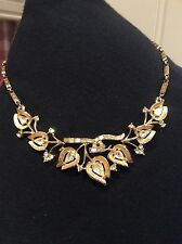 Signed Coro Vintage Rhinestone Floral Flower Mid Century Retro Choker Necklace