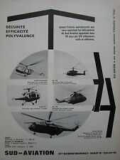 10/1968 PUB SUD AVIATION HELICOPTER ALOUETTE SUPER FRELON PUMA GAZELLE FRENCH AD