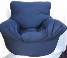 Cotton Navy Blue Bean Bag Arm Chair Seat With Beans With Filling *