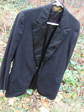 Vintage 20s Edwardian Tuxedo Jacket Wool Frock Coat lapels Black Quality 36