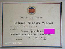 DIPLOME MEDAILLE DE BRONZE VILLE DE PARIS 1963