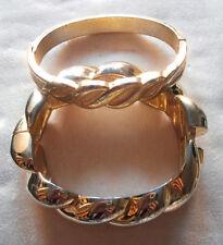 2 BRACCIALI METALLO DORATO A MOLLA ANNI '80 vintage bracelat armband AB