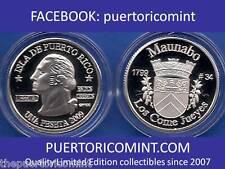 Silver PESETA MAUNABO 2009 Puerto Rico Boricua Quarter 1/100 Plata