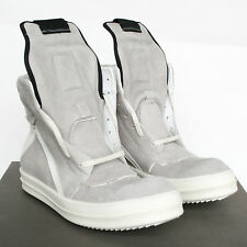 RICK OWENS grey white leather shoes Geobasket hi-top dunks sneakers 40.5/7.5 NEW