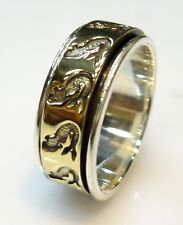 925 STERLING SILVER 5 GRAM BEAUTIFUL SPINNER RING US SIZE  7.5  BRASS/COPPER