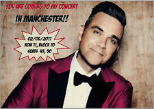 Robbie Williams Concert Tickets Seats Present Birthday Card Any wording A5