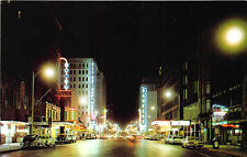 Oklahoma City OK Broadway Street Store Front's Neon Signs Old Cars Postcard