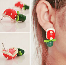 Sweet Lovely Handcraft Polymer Clay Plant Leaves Flower Piranha Ear Stud Earring