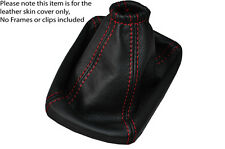 RED STITCH MANUAL LEATHER SKIN GEAR GAITER FITS CHEVROLET AVEO 2012-2015