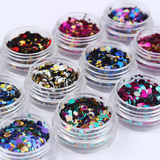 Fashion 12 Boxes Nail Art Acrylic 3D Round Glitter Sequins Powder Manicure Tips