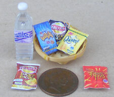1:12 Scale 5 Packets of Mixed Crisps In A Basket & Water Dolls House Miniature B