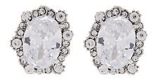 CLIP ON EARRINGS - silver earring with sparkling crystals and stone - Adina