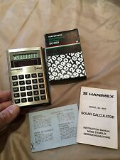 VINTAGE HANIMEX Solar Calculator Collectable CALCULATOR  And Case 1960s-1980s
