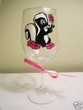 Painted Wine Glass FLOWER SKUNK friend of Bambi Holding a Flower