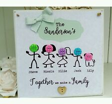 Personalised button family wooden hanging plaque. Unique gift, New home
