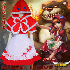 Sweet Lolita Red Hat Bow Anime League of Legends Annie Dress Cosplay Set#PD-E-24