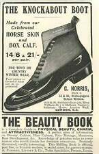 1905 The Knockabout Boot G Norris Horse Skin Vintage Ad