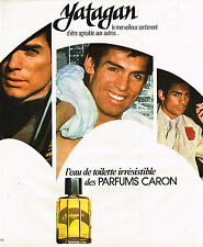 PUBLICITE ADVERTISING 045  1976  CARON eau de toilette irrésistble homme YATAGAN