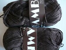 MeiMei Bamboo 100% bamboo yarn, Dark brown, lot of 2 (181 yds each)