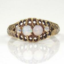 Antique 14K Yellow Gold Beautiful Natural Opal Art Deco Estate Ring Size 5 QR
