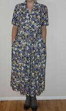 Vintage 80s 90s Floral Print Dress Elastic Waist by Carol Anderson Size 6
