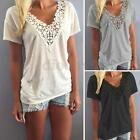 S-5XL New Women Summer Vest Short Sleeve Lace Blouse Casual Tank Tops T-Shirt