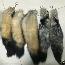 "18"" 45cm Natural Wolf Tail Genuine Wolf Fur Keychain Tassel Leather Bag charm"