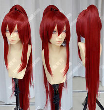 Hot New Fairy Tail Erza Scarlet Dark Red Cosplay Party Ponytails Full Hair Wig