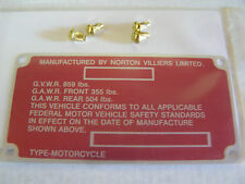 Norton Commando frame  decal tag and rivet drive screws, Free ship to USA stk128