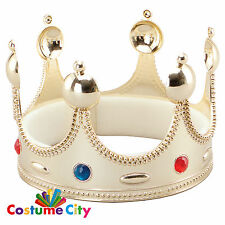 Kings Superior Gold Plastic Crown Royalty Queen Fancy Dress Costume Accessory