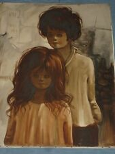 OUTSTANDING 1969 PARIS BOY GIRL OIL PAINTING ON CANVAS SIGNED NIKO