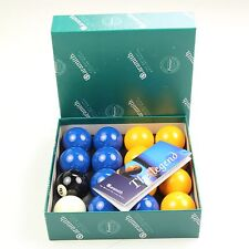"Aramith Premier BLUE & YELLOW 2"" Pool Balls + 1 7/8"" Cue Ball, Suitable for Pubs"
