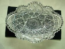 """ANTIQUE AMERICAN BRILLIANT ABP 11 1/2"""" INTRICATE CUT CRYSTAL HOBSTAR OVAL BOWL"""