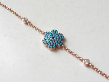 TURKISH TURQUOISE TOPAZ ROSE GOLD PLATED 925K STERLING SILVER FLOWER BRACELET