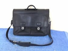 Coach Black Leather Laptop Computer Messenger Bag Briefcase 16""