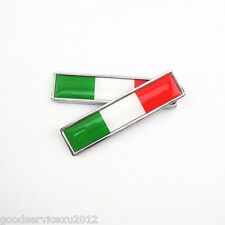 2 Pcs Metal Italian National Flag Pattern Emblem Auto Fenders Stickers Universal