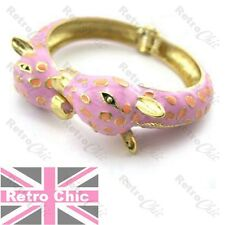 RETRO GIRAFFE HEAD animal BANGLE pink/purple enamel BRACELET quirky GOLD FASHION