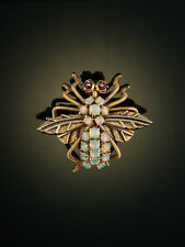 VINTAGE NATURAL JELLY OPAL AND RUBY BEE BROOCH PENDANT