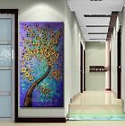 "MODERN ABSTRACT HUGE WALL ART OIL PAINTING ON CANVAS-Gold tree 48"" (no framed)"