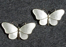 2 Ivar T. Holth Sterling White Guilloche Butterfly Pins Oslo, NORWAY