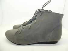 NEW LADIES GIRLS EX STORE FAUX SUEDE PIXIE ANKLE BOOTS BOOTIES 3 - 8 GREY OR TAN