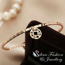 18K Rose Gold Plated Delicate Hollow Out Round Pendant Bracelet Fashion Jewelry
