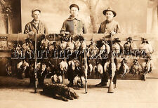 ANTIQUE HUNTING REPRO  8x10 PHOTOGRAPH HUNT LOTS OF DUCKS AMERICAN WATER SPANIEL