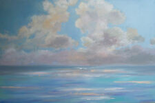 "ABSTRACT ORIGINAL LARGE MODERN CLOUDS OCEAN 1 1/2"" 24x36 PAINTING WALL ART"
