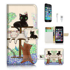iPhone 7 PLUS (5.5') Flip Wallet Case Cover P1944 Cat