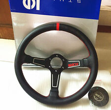 350mm Diam Leather Mid Deep Dish Steering Wheel SPC Drifting MOMO Racing Rally R