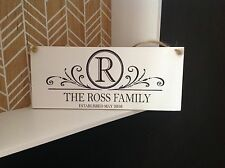 personalised family initial surname welcome new home wedding sign plaque