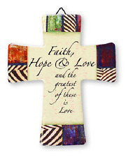 PORCELAIN CROSS FAITH HOPE & LOVE AND THE GREATEST OF THESE IS LOVE OTHERS AVAIL