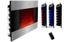 "Wall Mount 36"" Electric Fireplace Firebox Heater LED Backlit Flame Effect Remote"