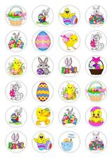 24 Mixed Easter bunny egg Cupcake Fairy Cake Toppers Edible Decorations easter